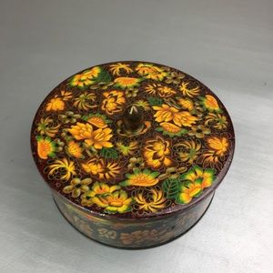 Vintage English floral metal circular container